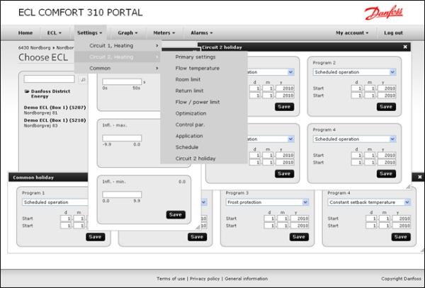 Reguliatorių ECL 310 valdykite nuotoliniu būdu - ECL Portal